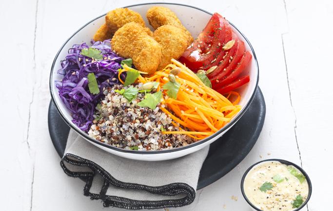 Buddha bowl aux légumes croquants et Nuggets Soja & Blé