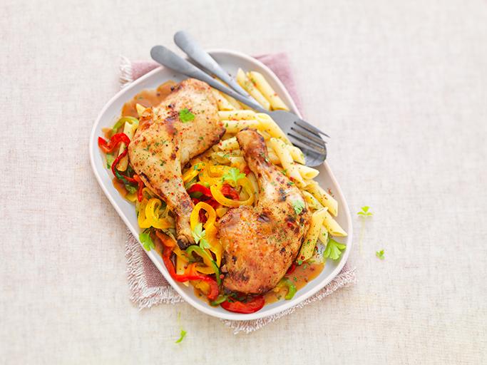 Cuisses de poulet à la fondue de poivrons