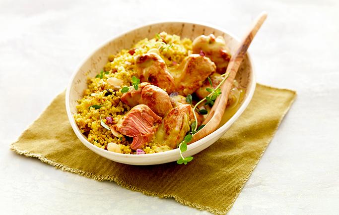 Curry de Sot-l'y-laisse et sa semoule aux épices