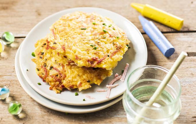Mini omelette au riz et au jambon