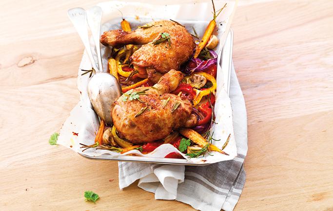 Le gaulois filets de poulet roti la moutarde et linguines aux herbes - Cuisse de poulet au four moutarde ...